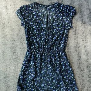 Black and Blue Floral Button Down Dress